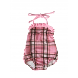 plaid ruffle snap suit