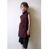 mandarin smock - black red