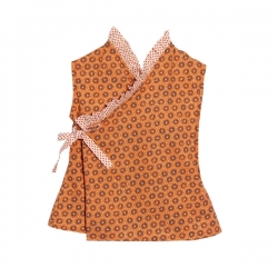 ruffle blouse - orange with navy flowers