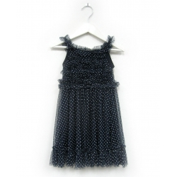 summer dress navy white dots